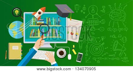 Concept of online education. Distance education, online learning, certificate programs, international educational projects, start of successful career. Flat design vector illustration .