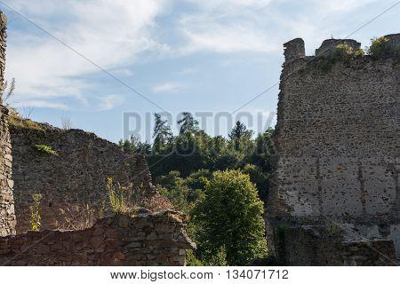 fragments medieval castle ruin Schaunberg - Austria