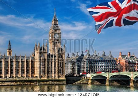 Big Ben With Flag Of United Kingdom In London, Uk