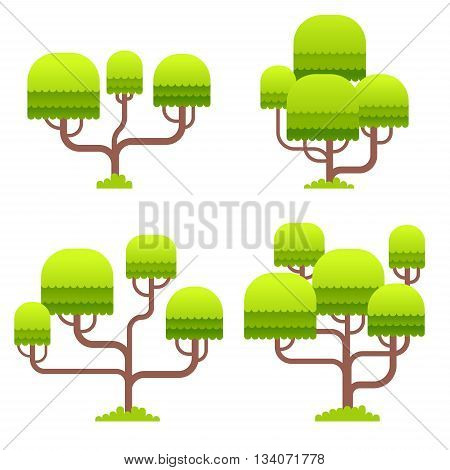 Stylized tree on white background for game