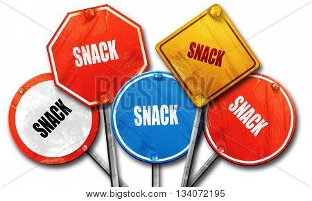 Delicious snack sign, 3D rendering, rough street sign collection