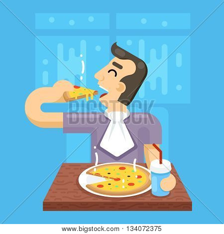 Hot Pizza Man Eat Symbol Icon Concept Stylish Background Flat Design Vector Illustration
