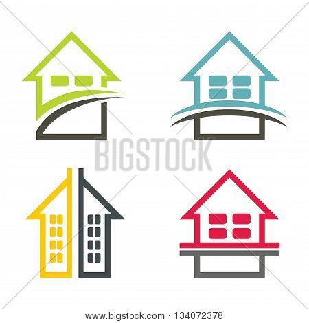 Color house illustration set with white background