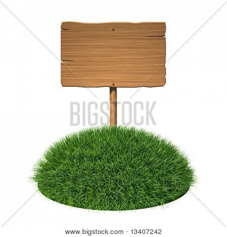 Wooden signboard on grass land