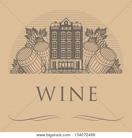 Vintage wine label with word Wine, vector illustration