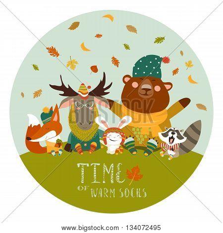 Happy cute animals meeting autumn. Vector illustration