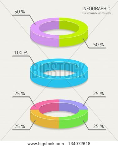 Colorful vector pie chart infographics for business report