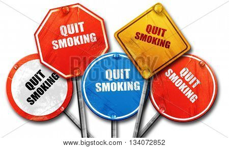 quit smoking, 3D rendering, rough street sign collection