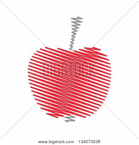 Red abstract striped zig zag apple vector illustration
