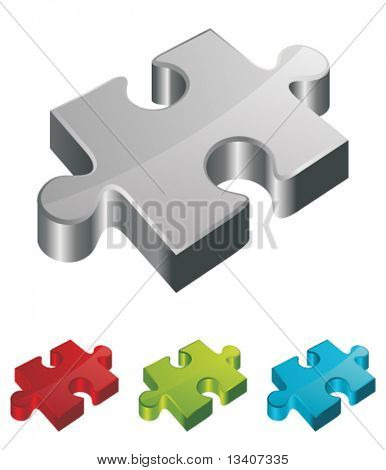 3d vector puzzle piece set