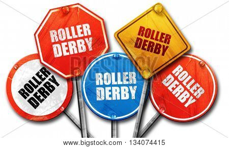 roller derby, 3D rendering, rough street sign collection