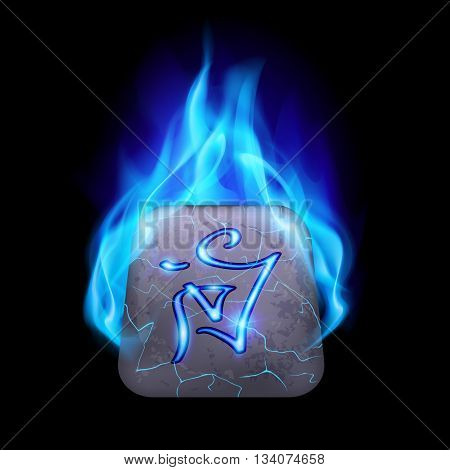 Cracked quadrangular stone with magic rune in blue flame