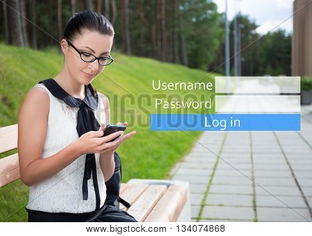 Internet And Mobile Banking Concept - Portrait Of Beautiful Woman Sitting On Bench With Phone In Par
