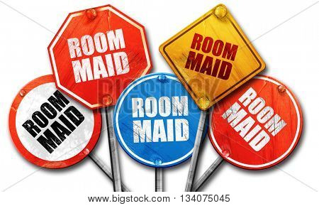 room maid, 3D rendering, rough street sign collection