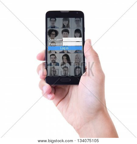 hand holding mobile smart phone with social network login panel on screen isolated on white background