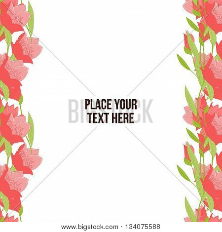 Horisontal floral frame made of red tulips on white background. Copy-space