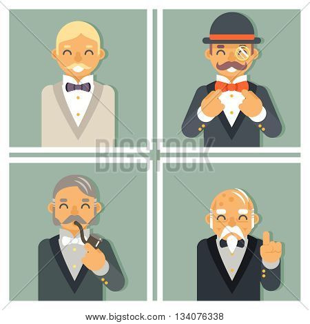 Retro Vintage Photo Frames Wealthy Victorian Gentleman Businessman Old Young Family Tree Stylish Lamp Background Great Britain Design Vector Illustration