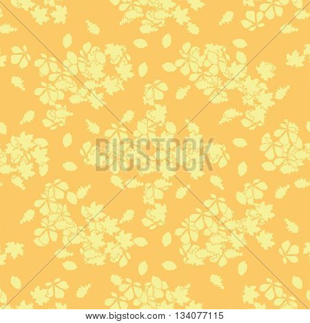 Seamless ornament consisting of a mass of leaves from different trees. Autumn template.Vector illustration.