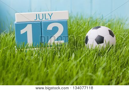 July 12th. Image of july 12 wooden color calendar on greengrass lawn background. Summer day, empty space for text.