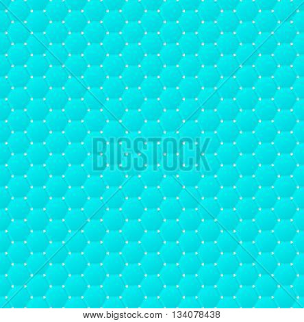 Connected blue hexagons of paper with deformed petals cut on the edges and shadows in the cutout. Seamless texture. Seamless pattern. Geometric background.