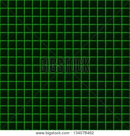 Squares of black stone with green streaks of energy. Seamless light texture. Technology seamless pattern. Geometric dark background.