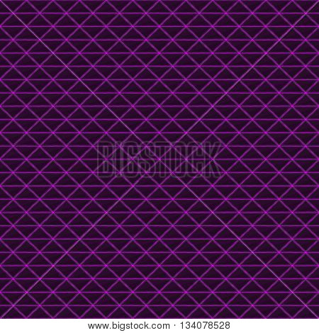 Triangles of black stone with purple streaks of energy. Seamless texture. Technology seamless pattern. Geometric dark background.