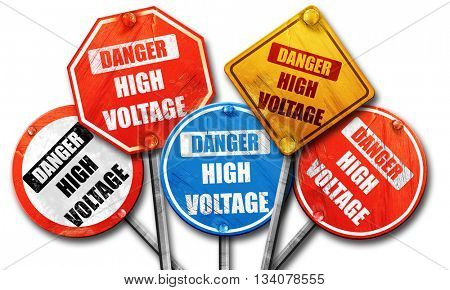 high voltage sign, 3D rendering, rough street sign collection