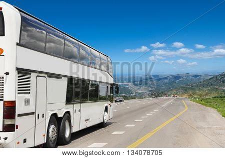 Tourist bus on the way to vacation. Transportation of tourists. Weekend holiday