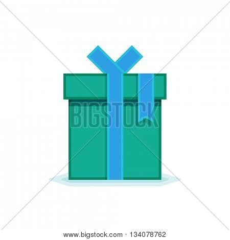 Flat gift box icon. Vector icon