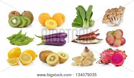 kiwieggplant lemon soybeans Bok choyroselle grapeginger dragon fruit mushrooms on white background