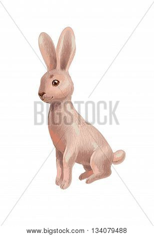 Hand-drawn sketch of brown rabbit isolated on white sitting and looking to the viewer. Cute character suit for children book game card as icon of bunny. Vector illustration in crayons style.