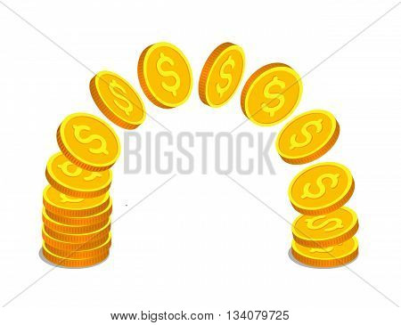 Gold coins with dollar signs are flying from one stack to another. Money operations and finance concept