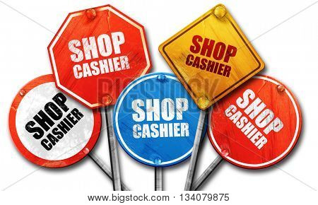 shop cashier, 3D rendering, rough street sign collection