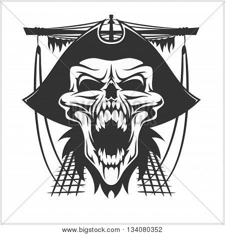 Skull pirate in hat - isolated on white