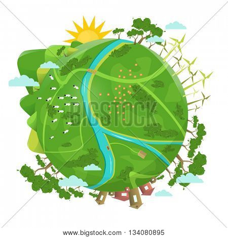 Eco friendly. Ecology design. Green Planet Earth concept of eco with green grass, trees, buildings. Vector illustration.
