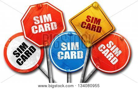 sim card, 3D rendering, rough street sign collection