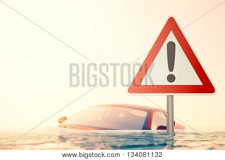 The Flood - Warning sign standing in flood water in front of a flooded car - computer generated image