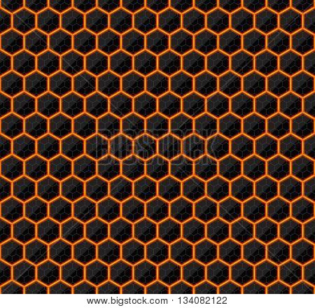 Hexagons of black stone with hot streaks of energy. Seamless background. Technology seamless pattern. Geometric dark background.