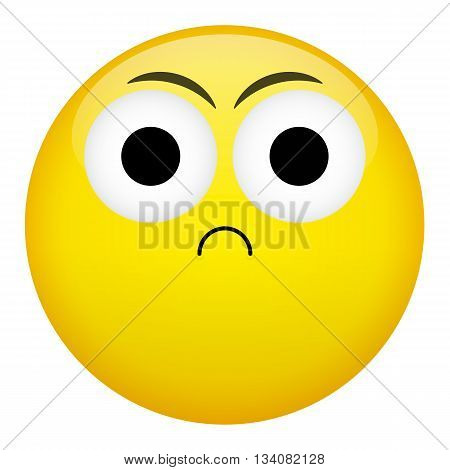 Frustration confusion frown criminal evil emotion. Bad emoticon illustration.