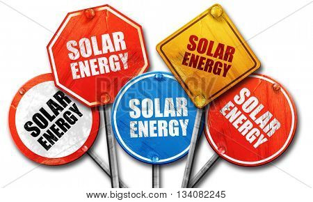 solar energy, 3D rendering, rough street sign collection