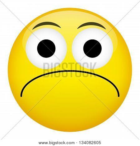 Frustration confusion sad emotion. Bad emoticon illustration.