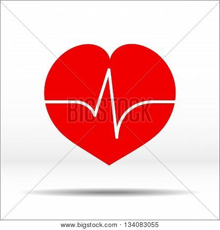 Red heart with pulse cardiogram on it. Color illustration and icon.