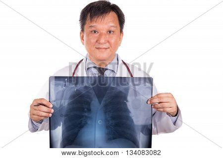 Matured Asian Medical Doctor Posing With Lungs X-ray Negative Film