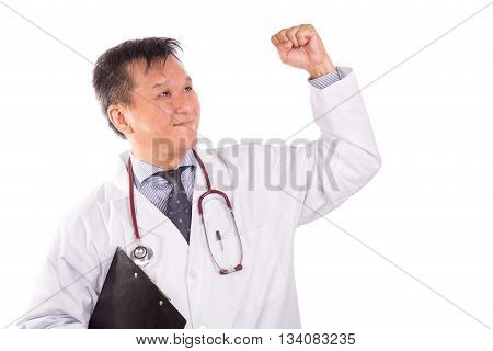 Successful Matured Asian Medical Doctor Rejoicing With Raised Hand
