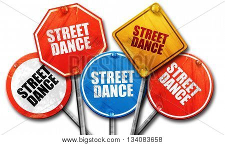 street dance, 3D rendering, rough street sign collection