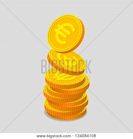 Stack of gold coins with euro signs. Coins is falling from the top so stack is increasing. Income concept