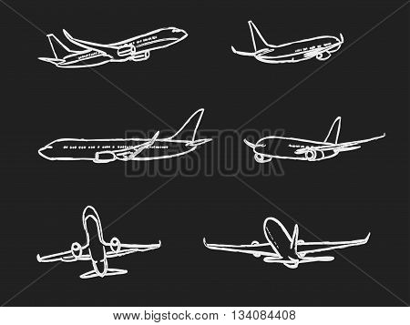 set of outline chalk airplanes for Your design. aviation theme vector illustration