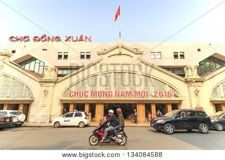Hanoi Vietnam: February 21 2016: Exterior of the Dong Xuan Market in Hanoi the largest covered market of the city
