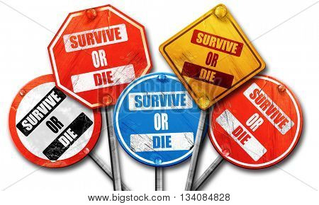 Survive or die, 3D rendering, rough street sign collection