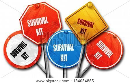 Survival kit sign, 3D rendering, rough street sign collection